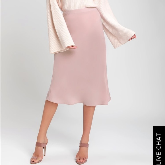more photos uk store new & pre-owned designer Dusty Rose Satin Midi Skirt NWT